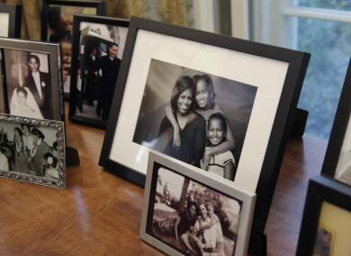 obama oval office desk. Family Photos Displayed Behind President Obama\u0027s Desk In The Newly-refurbished Oval Office. Obama Office T