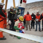 Mario Gomez, 59, is the oldest and the ninth of thirty-three miners being liberated from the collapsed San Jose mine near Copiapo, Chile on October 13, 2010. The miners have been trapped for 69 days since the collapse of the mine on August 5, 2010. HUGO INFANTE/GOVERNMENT OF CHILE