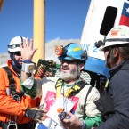 Jorge Galleguillos, 55, becomes the eleventh trapped miner to be rescued from the San Jose mine near Copiapo, Chile on October 13, 2010. HUGO INFANTE/GOVERNMENT OF CHILE