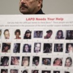 Los Angeles Police Chief Charlie Beck stands behind photographs found in the possession of Lonnie Franklin Jr