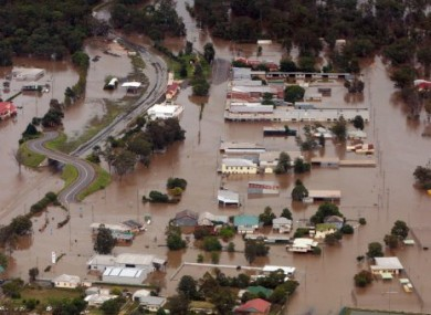 An aerial view shows flooded area in Chinchilla, southern Queensland state, Australia, Wednesday, Dec. 29, 2010.
