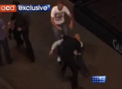 A still image from Channel Nine's news report, which claimed that Irish drinkers were the root of severe anti-social behaviour problems in Sydney.