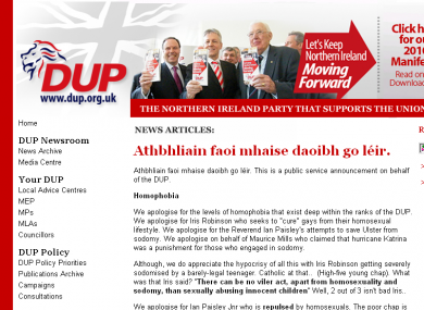 A screen grab of the DUP website while the fraudulent 'news' story was still active.
