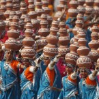 Indian schoolchildren perform a Rajasthan folk dance at the Republic Day parade in New Delhi on Wednesday.