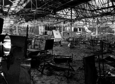 The gutted Stardust building where 48 young people died on Valentine's Day 1981