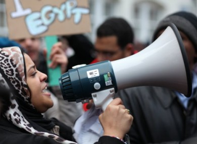 Egyptian citizens and supporters gathered outside the Egyptian Embassy in London to show s