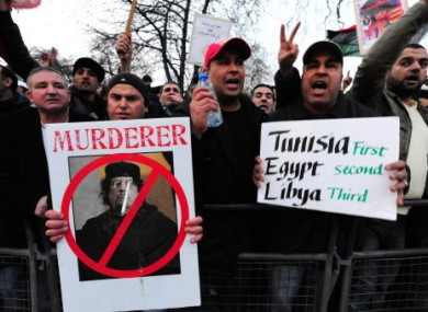 A strong contingent of Libyans gathered at Hyde Park Corner to demonstrate against their leader Gaddafi, demanding that he step down.