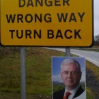 TheJournal.ie reader @Gina_inTipp spotted this unfortunate juxtaposition of an Eamon Gilmore poster and a rural road sign...<span class=