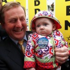 May Hennelly is TheJournal.ie's favourite baby on the election campaign trail. We hope that cheers her up, poor mite. Pic: PA Images/Julien Behal.