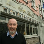 Mark Leavy outside his bar Sean Mac D's where the nude portraits of Brian Cowen are currently exhibited<span class=