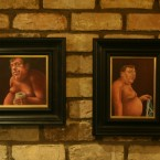 The nude portraits of Brian Cowen by artist Conor Casby, hanging on the wall of Sean Mac D's pub in Dublin.<span class=