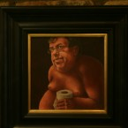 One of the nude portraits of Brian Cowen by artist Conor Casby, hanging on the wall of Sean Mac D's pub in Dublin.<span class=