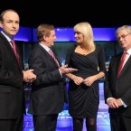 Primetme presenter Miriam O'Callaghan with Micheal Martin, Enda Kenny and Eamon Gilmore in the last leaders' debate this week. Pic: PA Images/Leon Farrell.
