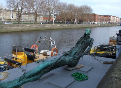 The Anna Livia sculpture about to begin her journey to her new home.