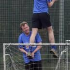 Cllr Aidan Culhane, below, helps Fianna Fail TD Barry Andrews retrieve a ball from the netting during the Newstalk General Election charity football match in aid of Barnardos.<span class=