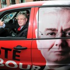 Eamon Gilmore finds there is no such thing as overexposure in the Labourmobile. Pic: Stephen Kilkenny<span class=