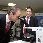 Is Micheal Martin trying to locate the future of the Fianna Fail party at medical lab testing service Claymon biomnis? The company's MD, John O'Sullivan, looks on in Sandyford, Dublin.<span class=