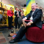 Labour's Pat Rabbitte puts the boot in at Dublin shoe store Korky's. Pic: Stephen Kilkenny.