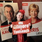 Aine Kavanagh's dad Conal (in poster on left) is running for Labour in Wicklow - but this pic is also noteworthy for being taken in the halycon days when 'Gilmore for Taoiseach' slogan was still doing the rounds... Pic: PA Images/Niall Carson.