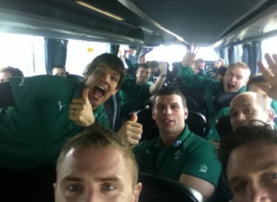 The Ireland rugby squad on the way to Dublin airport earlier. .