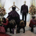 Visitors rest in front of mannequins at the China Wedding Expo 2011 in Shanghai. Pic: AP Photo/Eugene Hoshiko.