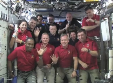Image released by NASA, all twelve Discovery and International Space Station crew members .