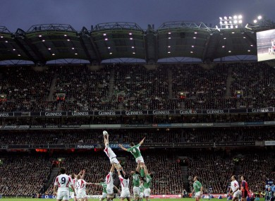 A line-out during the historic Ireland-England game at Croke Park in 2007.