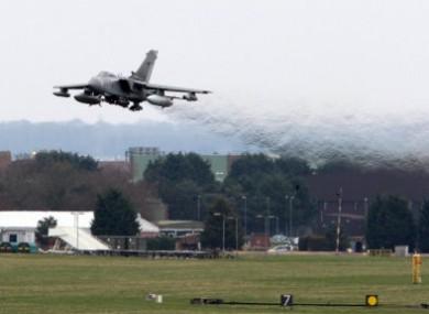 An RAF Tornado GR4 leaves an air base in Norfolk today