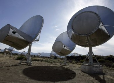 Radio telescopes of the Allen Telescope Array are seen in Hat Creek, Calif. Astronomers at the SETI Institute in Northern California.