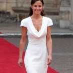 Kate's sister and bridesmaid, Pippa Middleton, almost upstages the bride in a white sheath dress.