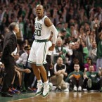Boston Celtics' Ray Allen reacts after hitting the game winning three-point shot against the New York Knicks<span class=
