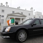 The presidential limousine is parked outside the Áras as US President Barack Obama and first lady Michelle Obama meet with Ireland's President Mary McAleese and husband Martin McAleese. 