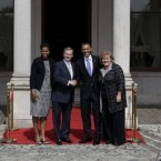 President Barack Obama, first lady Michelle Obama,Taoiseach Enda Kenny, and Fionnuala Kenny.