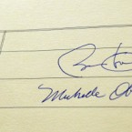 President Barack Obama and first lady Michelle Obama's signatures in the visitors book at Áras an Uachtaráin. 