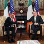 US President Barack Obama with Taoiseach Enda Kenny in Farmleigh, Dublin, where the two held talks.
