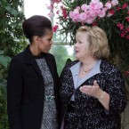 Michelle Obama speaks with Fionnuala Kenny in the gardens of Farmleigh.