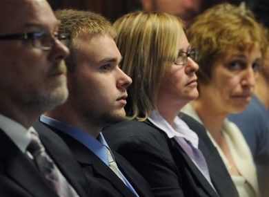 Sean Mulveyhill, second from left, sits in court during his hearing where he pleaded guilty to criminal harassment in Franklin - Hampshire Juvenile Court in Northampton, Mass., Wednesday, May 4, 2011.