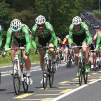 The An Post Sean Kelly team work in unison to control the pace in the main bunch.