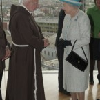 Brother Kevin Crowley, the Capuchin monk who has operated the Capuchin Day Centre for the poor in Dublin since the 1960s, meets the Queen. (Pic: Mark Cuthbert/UK Press/Press Association Images)