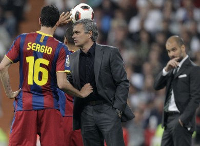 Jose Mourinho has words with Sergio Busquets during the first leg last week.