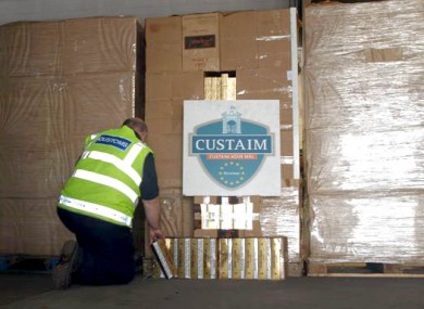 A photograph of this morning's haul of contraband cigarettes, seized from Dublin Port this morning.