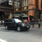 The Range Rover carrying Queen Elizabeth II and Prince Philip whisks past Pearse Street Dart station this morning. They did not take the Dart. (Pic submitted by TheJournal.ie reader)