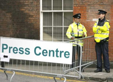 Gardaí and security outside the press centre at Dublin Castle