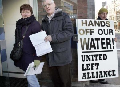 People Before Profit's Joan Collins and the Socialist Party's Joe Higgins protesting in February against the planned introduction of water charges