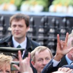 US President Barack Obama gestures to the crowd at College Green, Dublin as Taoiseach Enda Kenny looks on (Pic: Stephen Kilkenny)