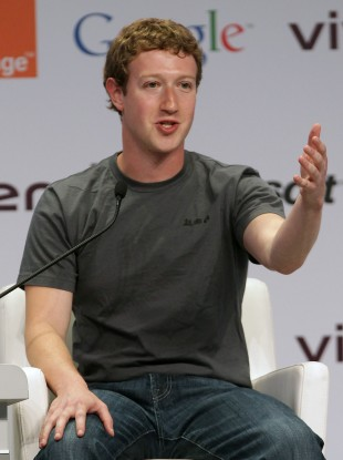 Facebook founder Mark Zuckerberg speaks during the e-G8 conference in Paris yesterday