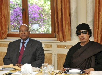 South African president Jacob Zuma meets with Libyan ruler Muammar Gaddafi in Tripoli
