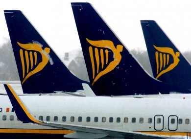 File photo of Ryanair planes at London Stansted airport