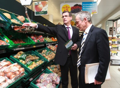 All those vegetables, but no Greens anywhere. Richard Bruton visits Tesco as they announce hundreds of new jobs.