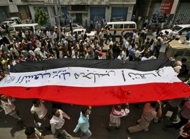 Yemeni protesters in Taiz calling for Saleh's resignation on Monday.